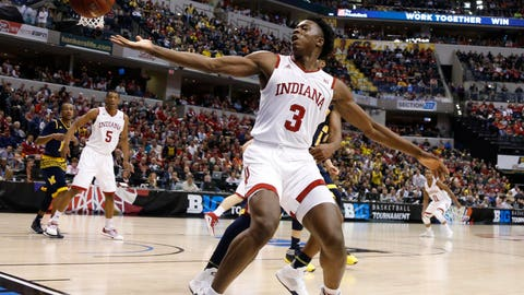 Mar 11, 2016; Indianapolis, IN, USA; Indiana Hoosiers forward OG Anunoby (3) loses the ball out of bounds against the Michigan Wolverines during the Big Ten Conference tournament at Bankers Life Fieldhouse. Michigan wins 72-69. Mandatory Credit: Brian Spurlock-USA TODAY Sports