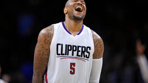 December 22, 2016; Los Angeles, CA, USA; Los Angeles Clippers center Marreese Speights (5) reacts after scoring a basket against the San Antonio Spurs during the second half  at Staples Center. Mandatory Credit: Gary A. Vasquez-USA TODAY Sports