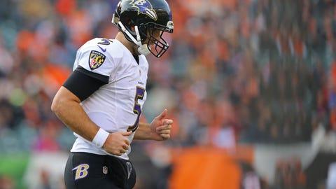 Jan 1, 2017; Cincinnati, OH, USA; Baltimore Ravens quarterback Joe Flacco (5) against the Cincinnati Bengals at Paul Brown Stadium. The Bengals won 27-10. Mandatory Credit: Aaron Doster-USA TODAY Sports