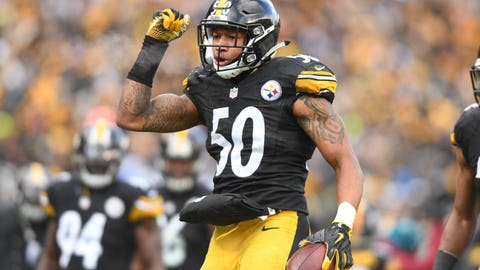Jan 8, 2017; Pittsburgh, PA, USA; Pittsburgh Steelers inside linebacker Ryan Shazier (50) celebrates after intercepting the ball against the Miami Dolphins during the second half in the AFC Wild Card playoff football game at Heinz Field. Mandatory Credit: James Lang-USA TODAY Sports