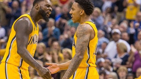 Apr 4, 2017; Indianapolis, IN, USA; Indiana Pacers guard Lance Stephenson (6) and guard Jeff Teague (44) celebrate after a shot in the second half of the game against the Toronto Raptors at Bankers Life Fieldhouse. The Pacers beat the Raptors 108-90. Mandatory Credit: Trevor Ruszkowski-USA TODAY Sports