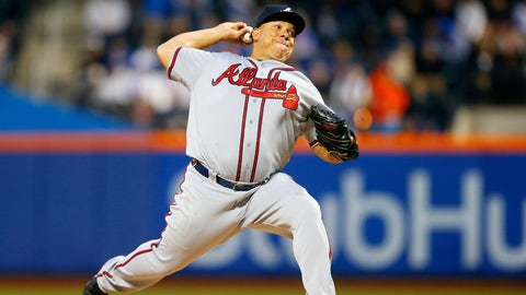 NEW YORK, NY - APRIL 05:  (NEW YORK DAILIES OUT)   Bartolo Colon #40 of the Atlanta Braves in action against the New York Mets at Citi Field on April 5, 2017 in the Flushing neighborhood of the Queens borough of New York City. The Braves defeated the Mets 3-1 after12 innings.  (Photo by Jim McIsaac/Getty Images)