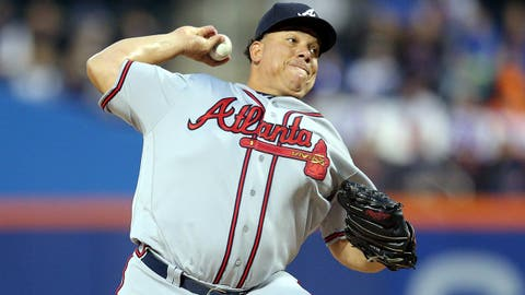 Apr 5, 2017; New York City, NY, USA; Atlanta Braves starting pitcher Bartolo Colon (40) pitches against the New York Mets during the first inning at Citi Field. Mandatory Credit: Brad Penner-USA TODAY Sports