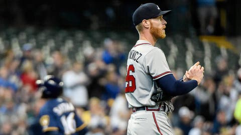 Apr 30, 2017; Milwaukee, WI, USA; Atlanta Braves pitcher Mike Foltynewicz (26) reacts after giving up a solo home run to Milwaukee Brewers right fielder Domingo Santana (16) in the fifth inning at Miller Park. Mandatory Credit: Benny Sieu-USA TODAY Sports