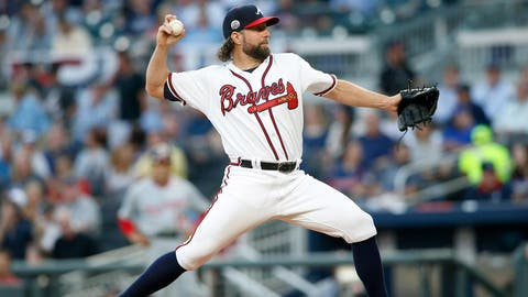 Apr 20, 2017; Atlanta, GA, USA; Atlanta Braves starting pitcher R.A. Dickey (19) throws a pitch against the Washington Nationals in the first inning at SunTrust Park. Mandatory Credit: Brett Davis-USA TODAY Sports