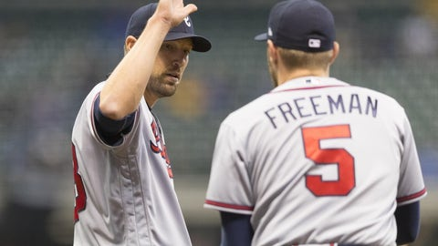 Apr 28, 2017; Milwaukee, WI, USA; Atlanta Braves pitcher Jim Johnson (53) high fives first baseman Freddie Freeman (5) following the game against the Milwaukee Brewers at Miller Park. Mandatory Credit: Jeff Hanisch-USA TODAY Sports