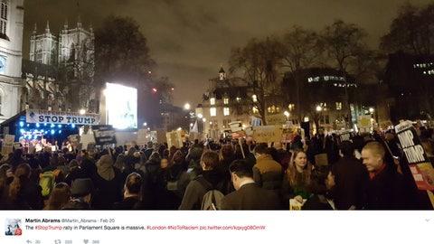 An anti-Trump rally in London