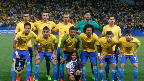 Players of Brazil pose for a group photo prior to their 2018 World Cup qualifying soccer match against Paraguay at the Arena Corinthians Stadium in Sao Paulo, Brazil, Tuesday, March 28, 2017. (AP Photo/Andre Penner)