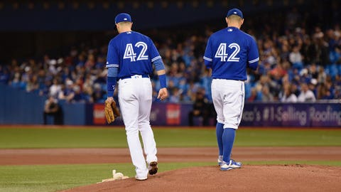 A couple of Blue Jays wearing the No. 42 jersey