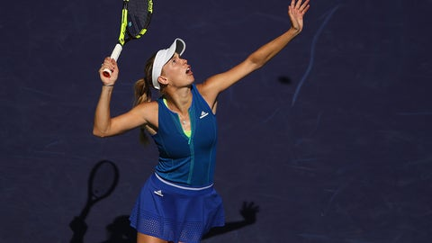 INDIAN WELLS, CA - MARCH 16:  Caroline Wozniacki of Denmark serves against  Kristina Mladenovic of France in their quarter final match during day eleven of the BNP Paribas Open at Indian Wells Tennis Garden on March 16, 2017 in Indian Wells, California.  (Photo by Clive Brunskill/Getty Images)
