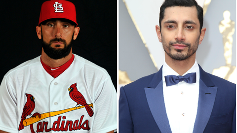 St. Louis Cardinals 3B Matt Carpenter and actor/rapper Riz Ahmed