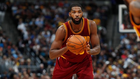 Cleveland Cavaliers center Tristan Thompson (13) in the first half of an NBA basketball game Wednesday, March 22, 2017, in Denver. (AP Photo/David Zalubowski)