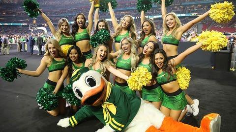 Oregon's cheer squad.
