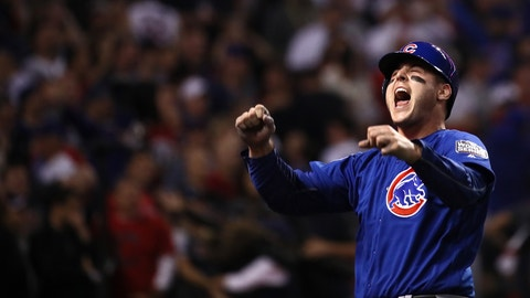 CLEVELAND, OH - NOVEMBER 02:  Anthony Rizzo #44 of the Chicago Cubs celebrates after Rizzo scores a run in the 10th inning on a Miguel Montero #47 against the Cleveland Indians in Game Seven of the 2016 World Series at Progressive Field on November 2, 2016 in Cleveland, Ohio.  (Photo by Ezra Shaw/Getty Images)