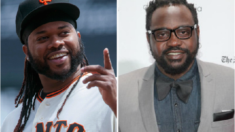 San Francisco Giants SP Johnny Cueto and actor Brian Tyree Henry