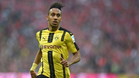 Dortmund's Pierre-Emerick Aubameyang seen during the German Bundesliga soccer match between Bayern Munich and Borussia Dortmund in the Allianz Arena in'Munich, Germany, 08 April 2017. Photo by: Andreas Gebert/picture-alliance/dpa/AP Images