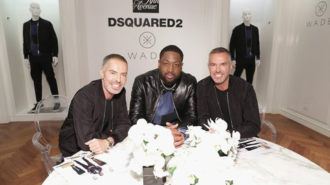 NEW YORK, NY - APRIL 03:  DSQUARED2 Designers Dean Caten and Dan Caten and basketball player Dwyane Wade (C) attend Saks Fifth Avenue Celebrates the Exclusive Launch of The Dsquared2 x Dwyane Wade Capsule Collection at Saks Fifth Avenue on April 3, 2017 in New York City.  (Photo by Cindy Ord/Getty Images for Saks Fifth Avenue)