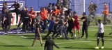 French match abandoned after fans invade the pitch twice, go after opposing team