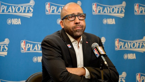 SAN ANTONIO, TX - APRIL 15:  David Fizdale of the Memphis Grizzlies talks to the media after the game against the San Antonio Spurs in Game One of Round One during the 2017 NBA Playoffs on April 15, 2017 at the AT&T Center in San Antonio, Texas. NOTE TO USER: User expressly acknowledges and agrees that, by downloading and or using this photograph, user is consenting to the terms and conditions of the Getty Images License Agreement. Mandatory Copyright Notice: Copyright 2017 NBAE (Photos by Mark Sobhani/NBAE via Getty Images)