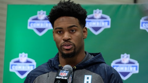 INDIANAPOLIS, IN - MARCH 05: Ohio State defensive back Gareon Conley answers questions from members of the media during the NFL Scouting Combine on March 5, 2017 at Lucas Oil Stadium in Indianapolis, IN. (Photo by Robin Alam/Icon Sportswire via Getty Images)