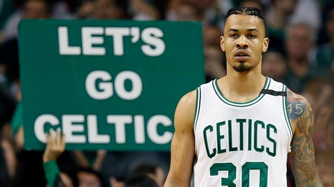 Boston Celtics' Gerald Green on the court during the fourth quarter of a first-round NBA playoff basketball game against the Chicago Bulls Sunday, April 16, 2017, in Boston. The Bulls won 106-102. (AP Photo/Michael Dwyer)