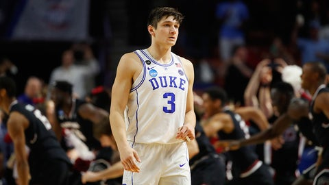 GREENVILLE, SC - MARCH 19:  Grayson Allen #3 of the Duke Blue Devils reacts after being defeated by the South Carolina Gamecocks 88-81 in the second round of the 2017 NCAA Men's Basketball Tournament at Bon Secours Wellness Arena on March 19, 2017 in Greenville, South Carolina.  (Photo by Gregory Shamus/Getty Images)