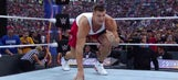 Rob Gronkowski gets into ring at WrestleMania 33, levels WWE star