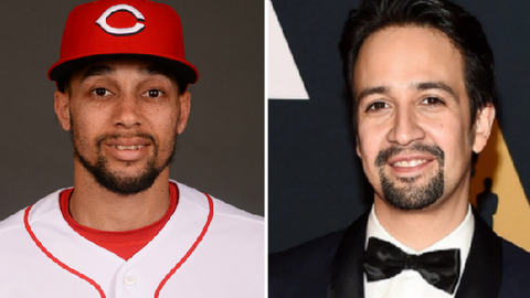Cincinnati Reds OF Billy Hamilton and 'Hamilton' director Lin Manuel Miranda