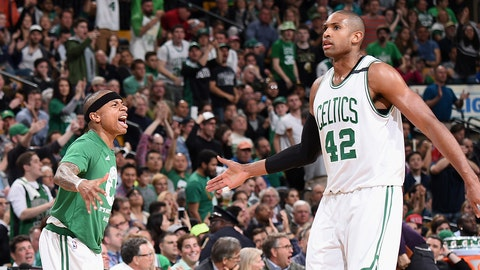 BOSTON, MA - APRIL 26:  Isaiah Thomas #4 and Al Horford #42 of the Boston Celtics high five during the game against the Chicago Bulls during Game Five of the Eastern Conference Quarterfinals of the 2017 NBA Playoffs on April 26, 2017 at TD Garden in Boston, MA. NOTE TO USER: User expressly acknowledges and agrees that, by downloading and or using this Photograph, user is consenting to the terms and conditions of the Getty Images License Agreement. Mandatory Copyright Notice: Copyright 2017 NBAE (Photo by Brian Babineau/NBAE via Getty Images)