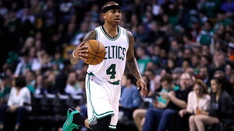 Boston Celtics guard Isaiah Thomas (4) shoots during the second half of an NBA basketball game in Boston, Monday, April 10, 2017. The Celtics defeated the Nets 114-105. (AP Photo/Charles Krupa)
