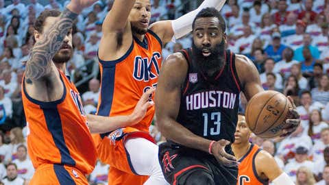 OKLAHOMA CITY, OK - APRIL 23:   Houston Rockets Guard James Harden (13) in the paint versus Oklahoma City Thunder during the game 4 of the first round of the NBA Western Conference Playoffs on April 23, 2017, at the Chesapeake Energy Arena Oklahoma City, OK. (Photo by Torrey Purvey/Icon Sportswire via Getty Images)