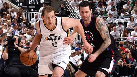 SALT LAKE CITY, UT - APRIL 23: Joe Ingles #2 of the Utah Jazz drives to the basket during the game against the LA Clippers in Game Four during the Western Conference Quarterfinals of the 2017 NBA Playoffs on April 23, 2017 at Vivint Smart Home Arena in Salt Lake City, Utah. NOTE TO USER: User expressly acknowledges and agrees that, by downloading and or using this Photograph, User is consenting to the terms and conditions of the Getty Images License Agreement. Mandatory Copyright Notice: Copyright 2017 NBAE (Photo by Andrew D. Bernstein/NBAE via Getty Images)
