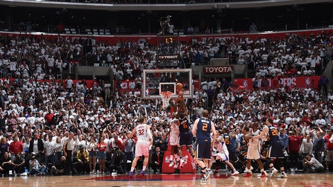 LOS ANGELES, CA - APRIL 15:  Joe Johnson #6 of the Utah Jazz shoots the ball to win the game against the Los Angeles Clippers in Game One of Round One during the 2017 NBA Playoffs on April 15, 2017 at STAPLES Center in Los Angeles, California. NOTE TO USER: User expressly acknowledges and agrees that, by downloading and/or using this Photograph, user is consenting to the terms and conditions of the Getty Images License Agreement. Mandatory Copyright Notice: Copyright 2017 NBAE (Photo by Andrew D. Bernstein/NBAE via Getty Images)