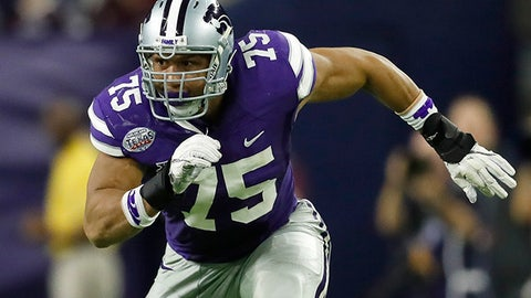 Kansas State University Wildcats defensive end Jordan Willis (75) rushes around the edge during the Texas Bowl NCAA college football game against the Texas A&M University Aggies on Wednesday, Dec. 28, 2016, in Houston. Kansas State University won 33-28. (Aaron M. Sprecher via AP)