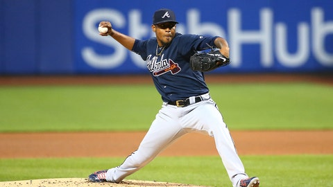 Apr 26, 2017; New York City, NY, USA; Atlanta Braves starting pitcher Julio Teheran (49) pitches against the New York Mets during the first inning at Citi Field. Mandatory Credit: Andy Marlin-USA TODAY Sports