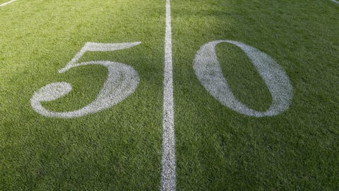 A detail view of the 50-yard line is seen on the field prior to an NFL football game between the New York Giants and the Los Angeles Rams at Twickenham Stadium on Sunday, Oct. 23, 2016 in London. (Ben Liebenberg via AP)