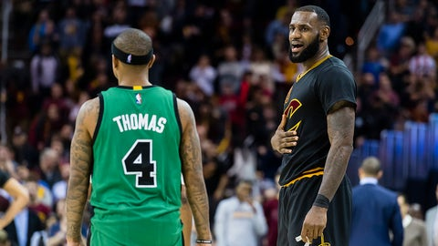 CLEVELAND, OH - DECEMBER 29: Isaiah Thomas #4 of the Boston Celtics talks to LeBron James #23 of the Cleveland Cavaliers during the second half at Quicken Loans Arena on December 29, 2016 in Cleveland, Ohio. The Cavaliers defeated the Celtics 124-118. NOTE TO USER: User expressly acknowledges and agrees that, by downloading and/or using this photograph, user is consenting to the terms and conditions of the Getty Images License Agreement. Mandatory copyright notice. (Photo by Jason Miller/Getty Images)