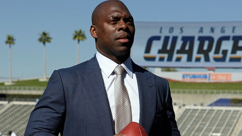 Los Angeles Chargers new head coach Anthony Lynn stands for a photo after an NFL football news conference in Carson, Calif., Tuesday, Jan. 17, 2017. (AP Photo/Kelvin Kuo)