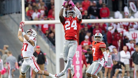 08 October 2016: safety Malik Hooker (24) of the Ohio State Buckeyes intercepts a pass during the game between the Indiana Hoosiers and the Ohio State Buckeyes at Ohio Stadium in Columbus, Ohio. (Photo by Khris Hale/Icon Sportswire via Getty Images)
