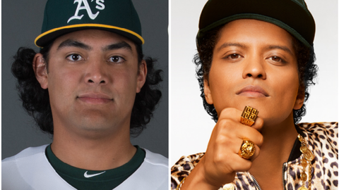 A's SP Sean Manaea and musician Bruno Mars