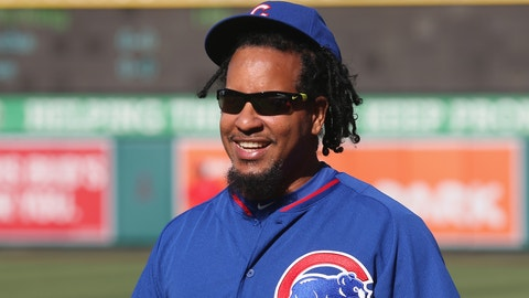 ANAHEIM, CA - APRIL 05:  Hitting instructor Manny Ramirez #99 of the Chicago Cubs on the field before the game with the Los Angeles Angels of Anaheim at Angel Stadium of Anaheim on April 5, 2016 in Anaheim, California.  The Cubs won 6-1,  (Photo by Stephen Dunn/Getty Images)