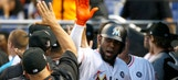 Watch: Marcell Ozuna climbs wall to make incredible catch, preserves no-hitter