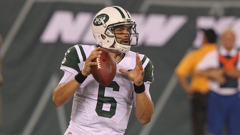 EAST RUTHERFORD, NJ - AUGUST 17:  Quarterback Mark Sanchez #6 of the New York Jets drops to pass against the Jacksonville Jaguars at MetLife Stadium on August 17, 2013 in East Rutherford, New Jersey.  (Photo by Al Pereira/New York Jets/Getty Images)