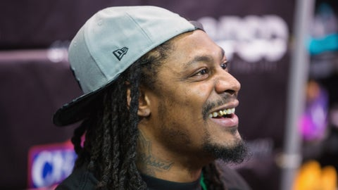 BELLEVUE, WA - NOVEMBER 13:  Seattle Seahawks Running Back Marshawn Lynch attends an in-store appearance for the launch of BEASTMODE x PSD at Champs at Bellevue Square on November 13, 2015 in Bellevue, Washington.  (Photo by Mat Hayward/Getty Images for PSD Underwear)