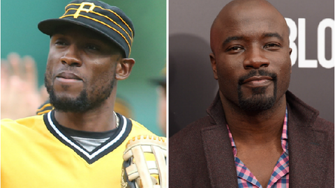 Pittsburgh Pirates OF Starling Marte and actor Mike Colter