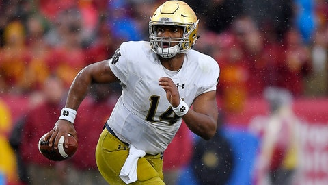Notre Dame quarterback DeShone Kizer runs the ball during the first half of an NCAA college football game against Southern California, Saturday, Nov. 26, 2016, in Los Angeles. (AP Photo/Mark J. Terrill)
