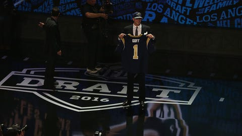 CHICAGO, IL - APRIL 28:  Jared Goff of the California Golden Bears holds up a jersey after being picked #1 overall by the Los Angeles Rams during the first round of the 2016 NFL Draft at the Auditorium Theatre of Roosevelt University on April 28, 2016 in Chicago, Illinois.  (Photo by Jonathan Daniel/Getty Images)
