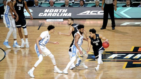 GLENDALE, AZ - APRIL 03:  Silas Melson #0 of the Gonzaga Bulldogs is guarded by Joel Berry II #2 of the North Carolina Tar Heels during the 2017 NCAA Men's Final Four National Championship game at University of Phoenix Stadium on April 3, 2017 in Glendale, Arizona.  (Photo by Matt Marriott/NCAA Photos via Getty Images)
