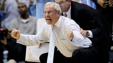 North Carolina coach Roy Williams yells during the second half of an NCAA college basketball game against Wisconsin in Chapel Hill, N.C., Wednesday, Nov. 30, 2011. North Carolina won 60-57. (AP Photo/Gerry Broome)