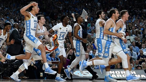 GLENDALE, AZ - APRIL 03: The North Carolina Tar Heels bench take to the court after winning the championship during the 2017 NCAA Men's Final Four National Championship game against the Gonzaga Bulldogs at University of Phoenix Stadium on April 3, 2017 in Glendale, Arizona.  (Photo by Chris Steppig/NCAA Photos via Getty Images)